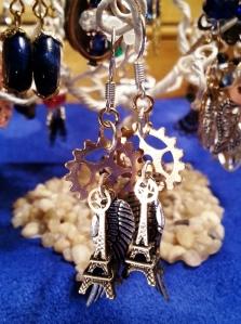 brass gears, Eiffel Tower, wing, earings