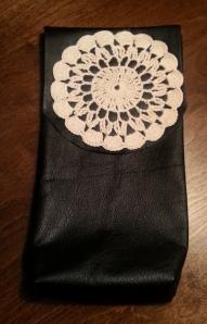 Leather crochet bag